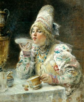 Konstantin Makovsky. For tea