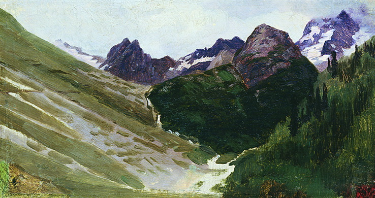 Николай Александрович Ярошенко. В горах. 1890 Этюд.