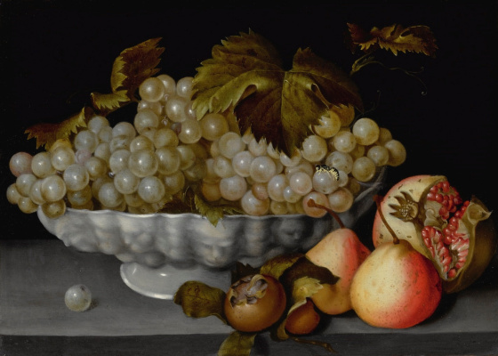 Fede Galicia. A Still Life Of A Porcelain Bowl Of Grapes On A Stone Ledge With A Medlar, Quinces, A Pomegranate And A Wasp