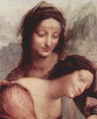 Леонардо да Винчи. Мадонна с младенцем и Святой Анной (фрагмент)