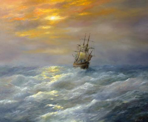 Сергей Владимирович Дорофеев. Sailboat in the sea