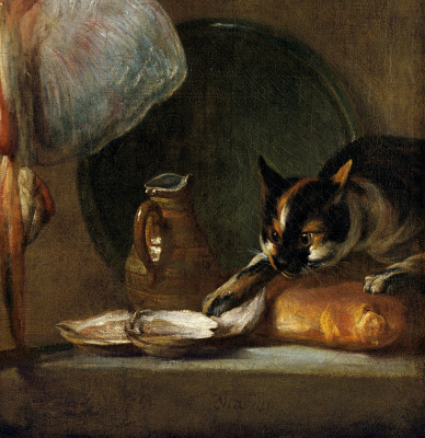 Jean Baptiste Simeon Chardin. Still life with fish, oysters and cat. Fragment