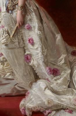 Franz Xaver Winterhalter. Queen of Spain Isabella II with her daughter Isabella, Princess of Asturias. Fragment