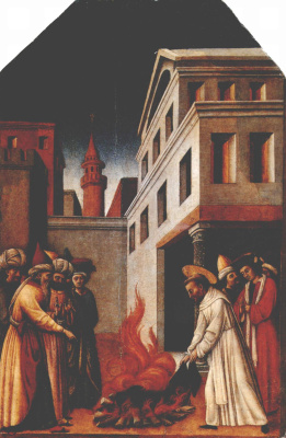 Antonio Vivarini. SV. Peter martir does the miracle of fire before the Sultan