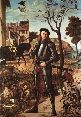Vittore Carpaccio. Portrait of a young knight in a landscape