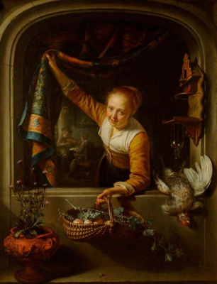 Gerrit (Gerard) Dow. The girl in the window with a basket of fruit