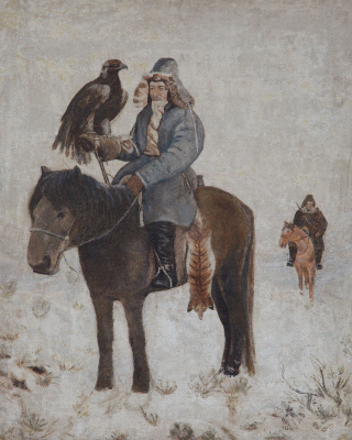 Abylkhan Kasteevich Kasteev. Hunter with a golden eagle