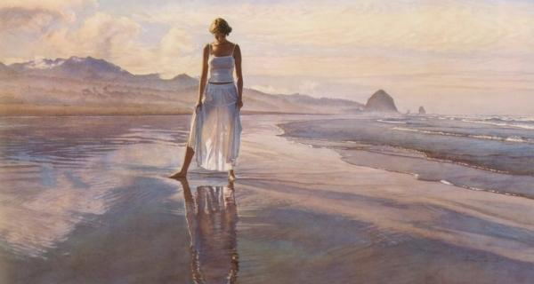 Steve Hanks. Sunset on the shore