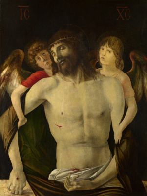 Giovanni Bellini. Dead Christ support the angels
