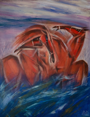Red horses on blue grass