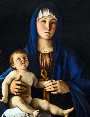 Джованни Беллини. Дева с младенцем, святой Екатериной и Марией Магдалиной. Фрагмент. Мария с младенцем