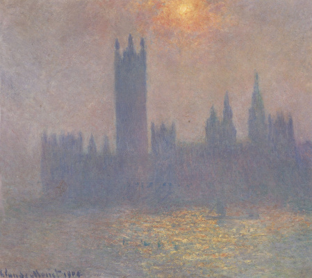 The Palace of Westminster. The effect of sunlight in the fog
