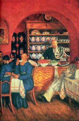 Boris Mikhailovich Kustodiev. Moscow restaurant. Fragment