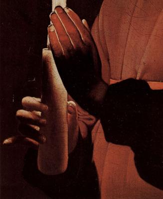 Georges de La Tour. SV. Joseph the carpenter, detail: Hands of the infant Christ with the cross