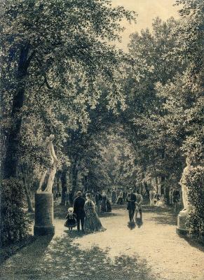Alley of the summer garden in St. Petersburg