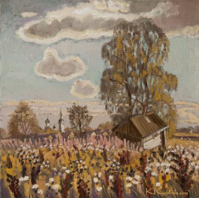 Ekaterina Anatolyevna Kudryavtseva. Autumn evening in Swosti 70x70 oil on canvas, 2014