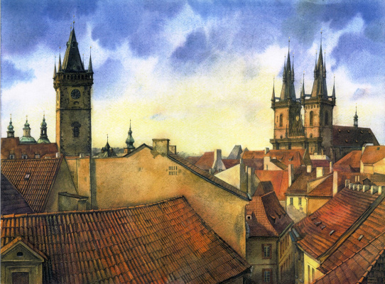 Andrey Kozlov. Prague, view from the window on the Tyn Church