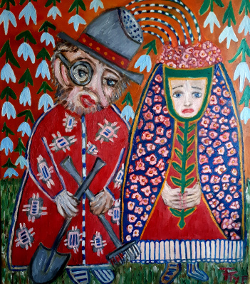 "Tatyana Turanova. Oil painting ""Wedding of the gardener and flower beds"""