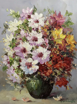 Andrzej Vlodarczyk. Multicolored bouquet in a green vase N2