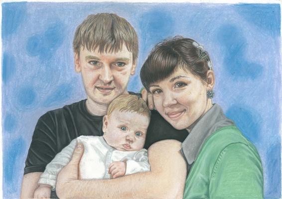Ирина Владимировна Хазэ. Family portrait with a child