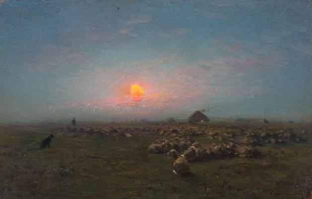 Иван Павлович Похитонов. In the south of Russia. Sheep on tyrla