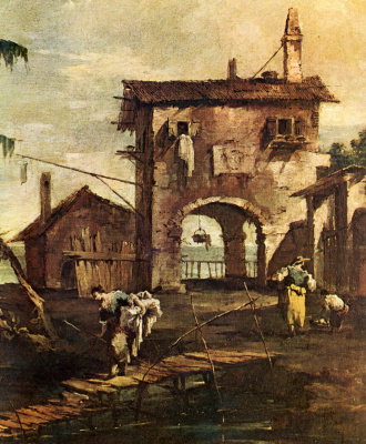 Francesco Guardi. Capriccio: a dilapidated church, a peasant's house and figures on the Laguna River, fragment