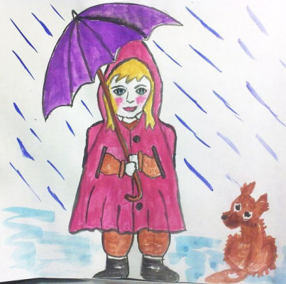 Irina Alexandrovna Sokolova. In the rain.