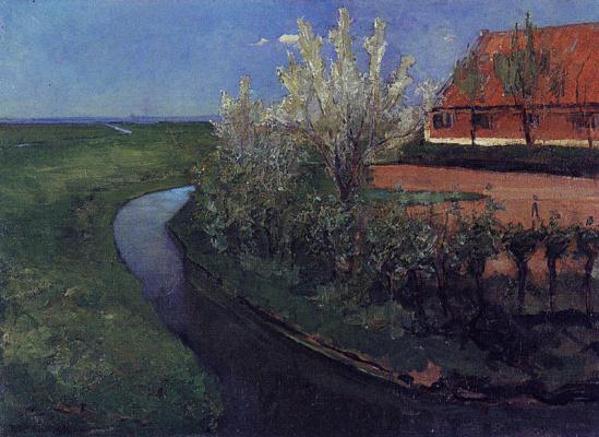 Пит Мондриан. Ручей возле фермы с цветущими деревьями