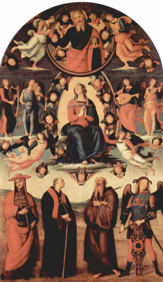 Pietro Perugino. Assumption of the virgin Mary and four saints