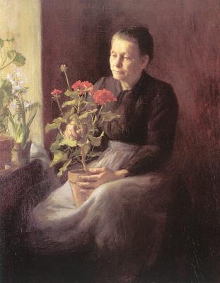 Господа. Пожилая женщина с цветком