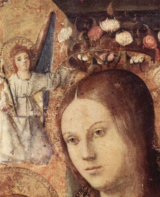 Антонелло да Мессина. Полиптих св. Георгия, центральная часть, сцена: Мадонна на троне, деталь: Голова Мадонны с ангелом