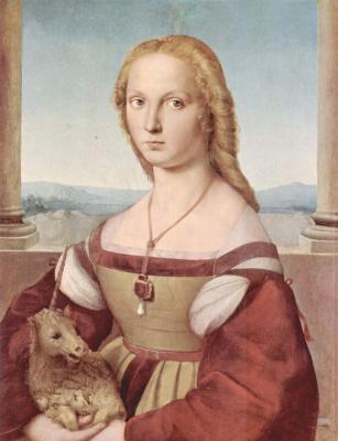 Рафаэль Санти. Портрет молодой женщины с единорогом