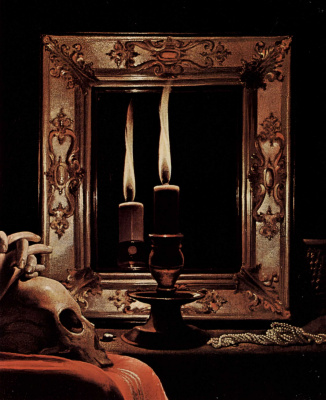 Georges de La Tour. Penitent Mary Magdalene. Fragment. Candle in the mirror