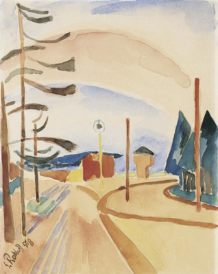 Karl Schmidt-Rottluff. Street with a hangar and trees