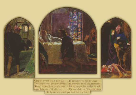 Arthur Hughes. Triptych: Eve of St. Agnes Day
