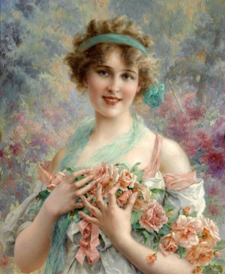 Emile Vernon. Girl with roses.