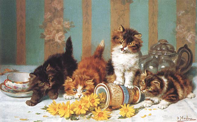 Дэвид Мерлин. Котята и желтые цветы