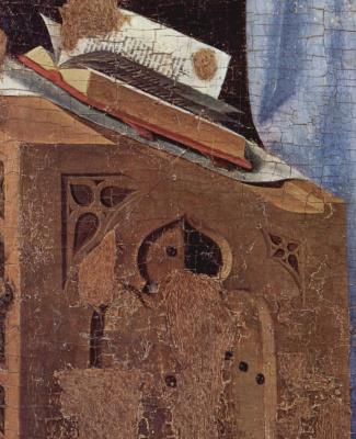 Антонелло да Мессина. Благовещение, фрагмент. Деталь: кафедра Марии