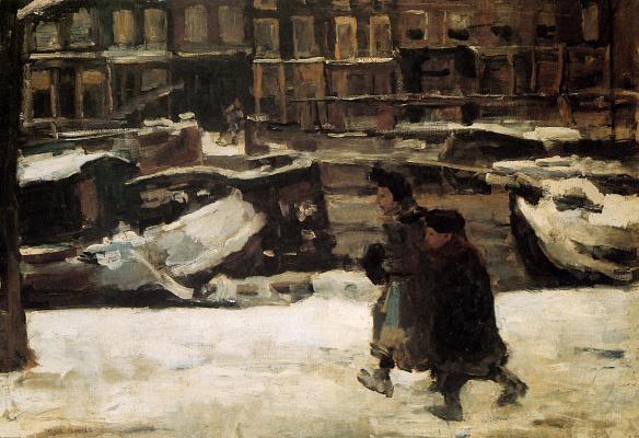 Isaac Israel. Children running along the canal