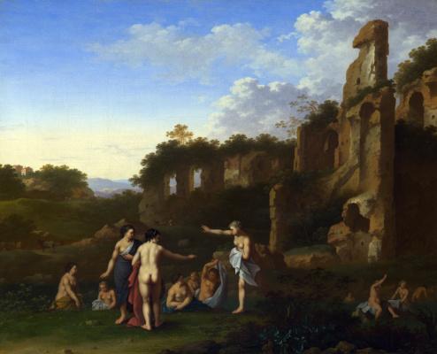Корнелис ван Пуленбург. Пейзаж купающиеся женщины