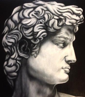 Julia Sergeevna Evtushenko. David's profile (oil on wood)