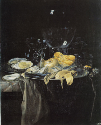 Willem van Aelst. Seafood, onion and glass