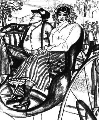 Борис Дмитриевич Григорьев. В экипаже. 1913