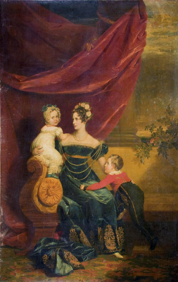George Dow. Portrait of Grand Duchess Alexandra Feodorovna with children
