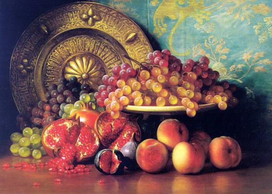 Натюрморт с виноградом, гранатом и персиками