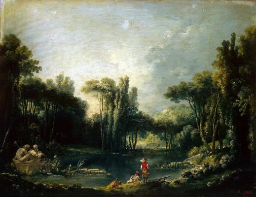 Francois Boucher. Landscape with a pond