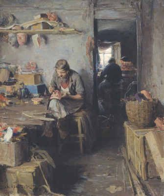 Abram Arkhipov. In the masks workshop