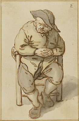 Adrian Jans van Ostade. Peasant sitting with clasped hands
