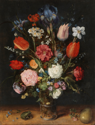 Jan Bruegel The Elder. Bouquet of flowers in a vase, frog and egg