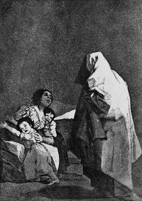 Francisco Goya. Series Los Caprichos, sheet the 03: Quiet, beech is coming!